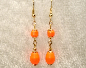 Poppin' Orange Earrings in Gold - No Shipping Charge within the U.S.