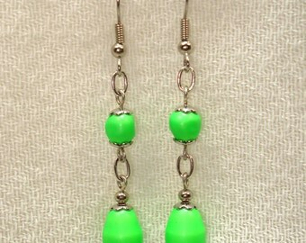 Poppin' Green Earrings in Silver - No Shipping Charge within the U.S.