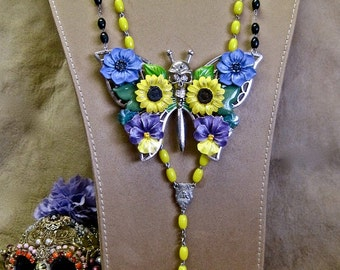 Day of the Dead Necklace DEADicated to the One I Love: Vintage Assemblage Rosary Style HUGE Butterfly Skull Flowers Bright Yellow Purple