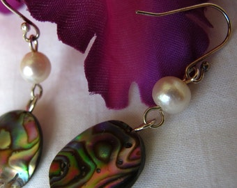 SALE Colorful Abalony Shell Earrings,Pearl Earrings,Natural Abalone Spring Summer Earrings,Sea Shell Earrings, Tropical Handmade Earrings,