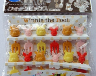 Disney Winnie The Pooh & Piglet Faces Bento Mini Forks / Cake Toppers - Set Of 12