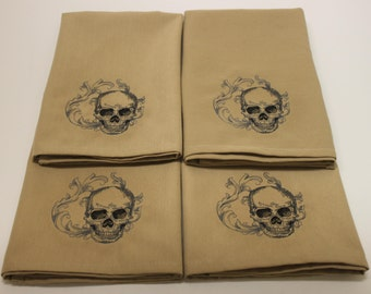 Baroque Skull Embroidered Cloth Cotton Napkins