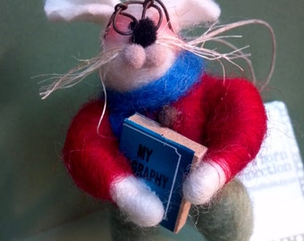Maxwell the Bookreader Felted Wool Ornament