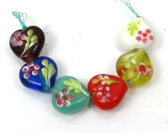 Lampwork Handmade Glass Jasmine Heart Beads (6) (L1098)