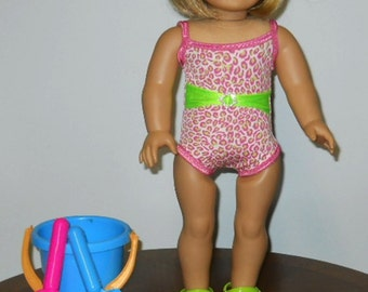 American Girl Doll Clothes - Animal Print Swim Suit with Lime Belt and Buckle - 18 Inch Doll Clothing