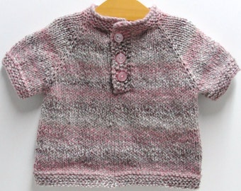 "Baby girl sweater- pullover sweater tee- ''Black Raspberry"" short sleeves, hand knit, three buttons, 12-18 month size - ready to ship"