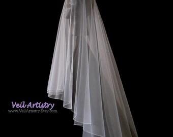 Wedding Veil, Simplicity Veil, Drop Veil, 2 Tier Veil, Crystal Bead Edge Veil, Fingertip Veil, Made-to-Order Veil, Bespoke Veil