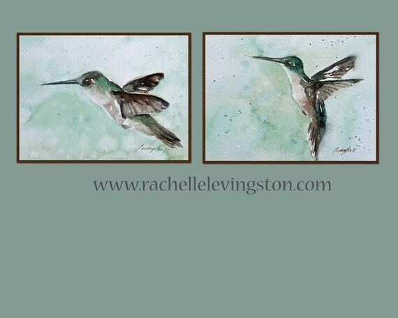 Sale kitchen wall art Hummingbird PRINT SET Hummingbird art PRINTS Hummingbird Painting 5x7 Hummingbird picture wall art Kitchen watercolor