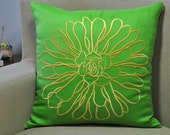 Green Pillow Cover, Embroidered Pillow, DecorativeThrow Pillow, Cushion Cover, Green Linen, Yellow Flower, Embroidered, Toss Pillow