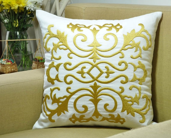 Embroidered Throw Pillow Covers : Damask Decorative Pillow Cover Throw Pillow Cover by KainKain