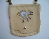 Leather Hip Bag with Dream Catcher Eagle with feathers