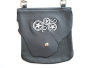 Leather Hip Bag with Steampunk Wheels and stars
