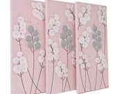 Pink and Gray Nursery Wall Art - Textured Painting Flower Decor - Triptych Canvas Art - Medium 32x20