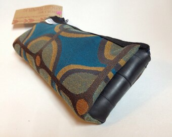 Flat bike tube wallet, clutch, made with mod upholstery fabric