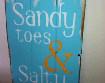 sandy toes salty kisses beach sign beach decor beach house beach theme - Beach Theme Decor