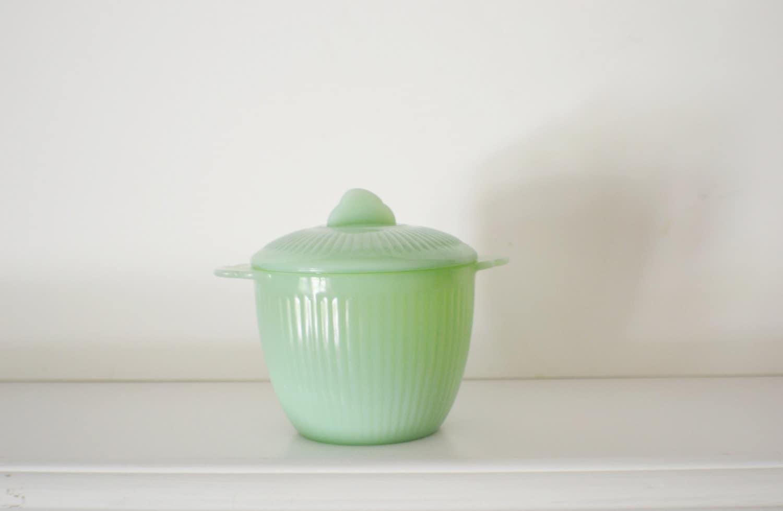 Fire King Jadeite Green Lidded Sugar Bowl Vintage Kitchen