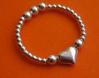 Reversible Sterling Silver Beaded Heart Ring
