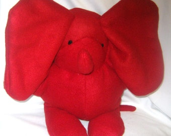 Pepper the Red Elephant  Handcrafted Stuffed Animal Plush Washable  No Buttons Additional Colors Child Nursery Baby Toy