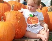 Girls Pumpkin Applique Polka Dot Ruffle Shirt with monogram