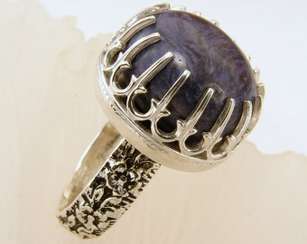 Charoite and Sterling Silver Ring - Size 6.5 but can be resized