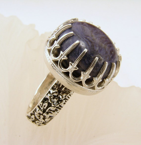 charoite and sterling silver ring size 6 5 but can be