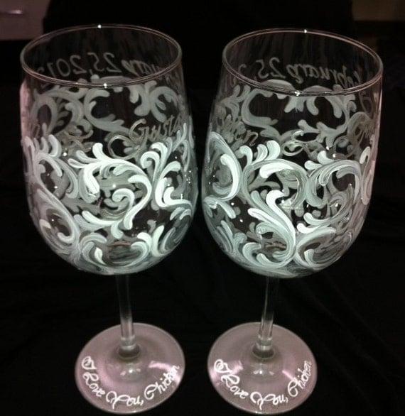 Anniversary Swirl Wine Glasses