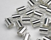 Silver 6mm End Caps 6mm Silver Plated Barrel End Caps Kumihimo, Braids Or Leather Glue In Cord End Bright Silver Caps 6 mm (B26)