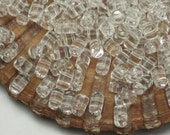 Clear Glass Barrel Beads Crystal Rulla 3x5mm Two Hole Beads 20 Grams Or More 2 Parallel Holes Small Cylinder Weaving Knitting Beads Czech