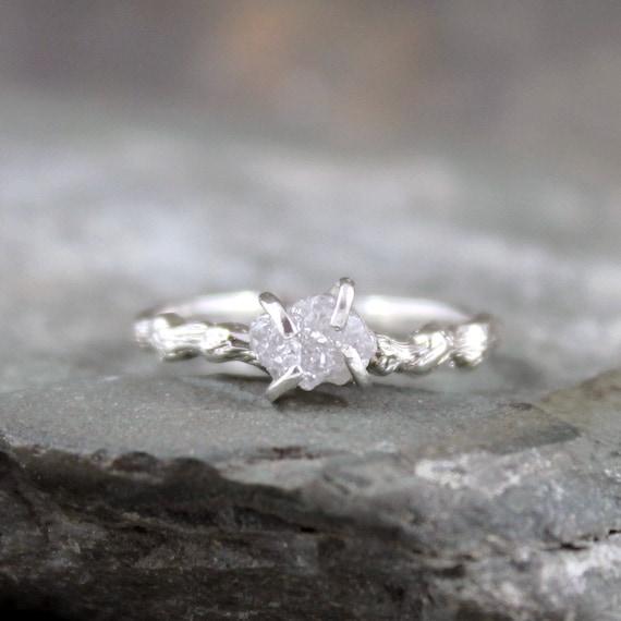 Raw Uncut Diamond Twig Ring Engagement Rings Sterling