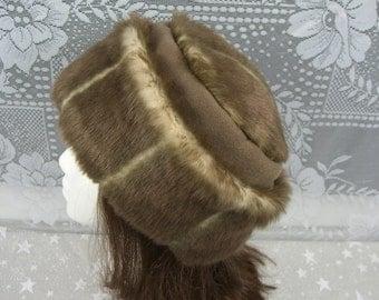 Dark Taupe Mink FAUX FUR HAT, Pillbox Style Hat, Women's Winter Fur Hat, Taupe Fur Hat
