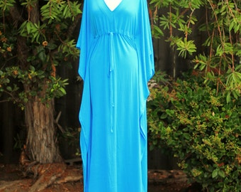 Kaftan Maxi Dress in Aqua Jersey Knit - Long Caftan - Lots of Colors