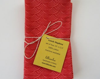 Lunch Napkins- Set of 4- Red- Cotton