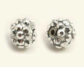 Resin Rhinestone Beads - Silver - Set of 10 - #RR104