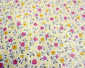 Mini Flowers on Yellow Fabric  - Japanese Floral Fabric - Fat Quarter