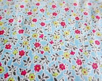 Cotton Fabric - Mini Flowers on Blue  - Japanese Floral Fabric - Half Yard LAST PIECE