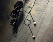 Cloudberry. Freshwater Pearl and Antiqued Brass Bar Hoop Earrings.