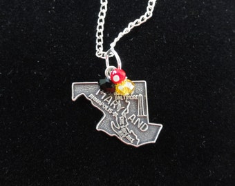 Maryland Terrapins Necklace- Maryland Sterling Silver State Map Charm- Red, Yellow & Black Beaded Pendant Sterling Silver Chain Necklace
