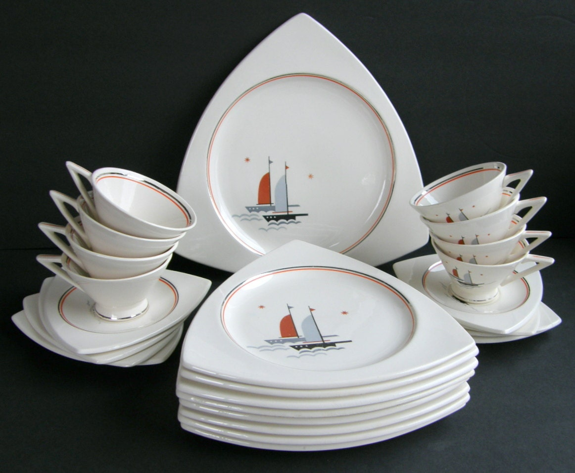 Salem China Atomic Art Deco Dinnerware Set For 4 Or 8