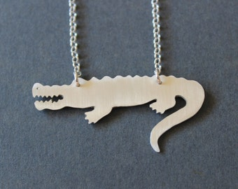 Crocodile Necklace. Sterling Silver. Handmade. Contemporary Design.