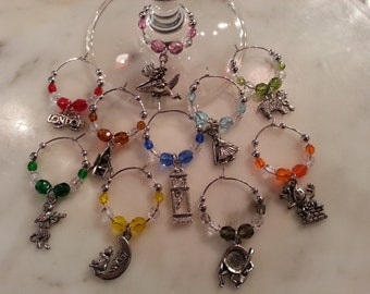 Fairy Tale Nursery Rhymes Mother Goose  Wine Charms