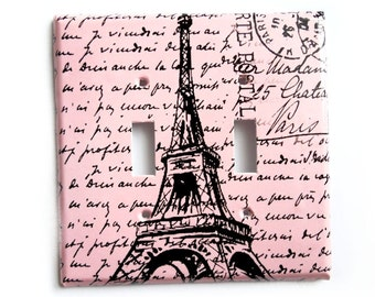 Double Light Switch Cover of Eiffel Tower Single Switchplate or Electrical Outlet Cover Light Pink Black