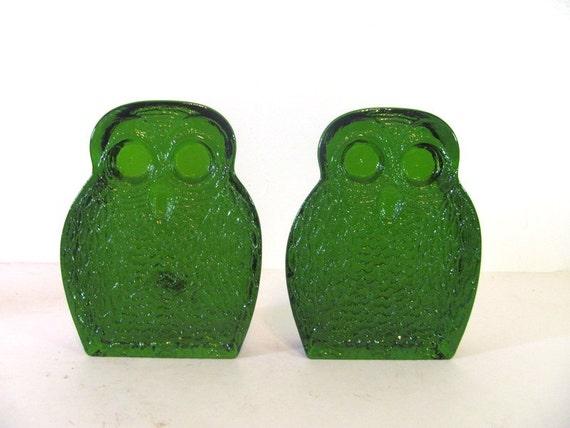 BLENKO Owl Bookends. Green Glass. Mid Century book ends.