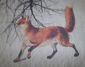 woodland fabric, quilt fabric panel, red fox, cotton fabric block, rustic nature art fabric, forest quilt square, fox wall art, home decor
