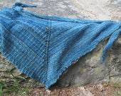 slip stitch knit shawl pattern - Blueridge Shawl - top down triangle easy