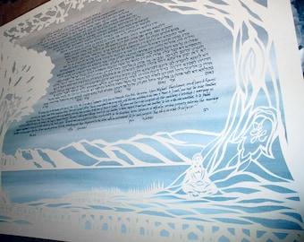 Peaceful Buddha Papercut Ketubah - Wedding Artwork - calligraphy - Hebrew