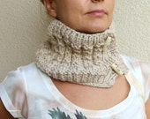 Winter Accessories  / Oatmeal / Hand Knitted Chunky Cowl Scarf  / Circle Scarf /  Wood Buttons