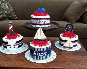 Ahoy its a Boy Nautical Sailing Baby Shower Centerpiece Diaper Cakes other colors and sizes too