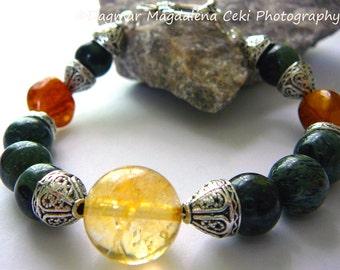 Harmonize Your Life - Bracelet / Amber, Lemon Quartz, Jasper