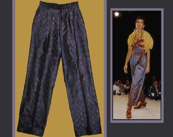 GIGLI for Callaghan Italy,Elegant Purple Woven Silk Trousers,Romeo Gigli 1980s Vintage Fashion,Women