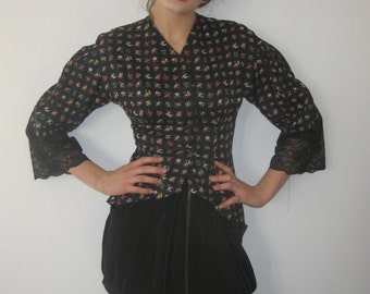 BASIA Designs Bird Print on Black Peplum Blouse with Lace Edging